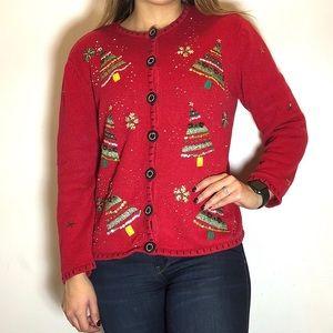 Sweaters - Vintage Ugly Christmas Tree Cardigan
